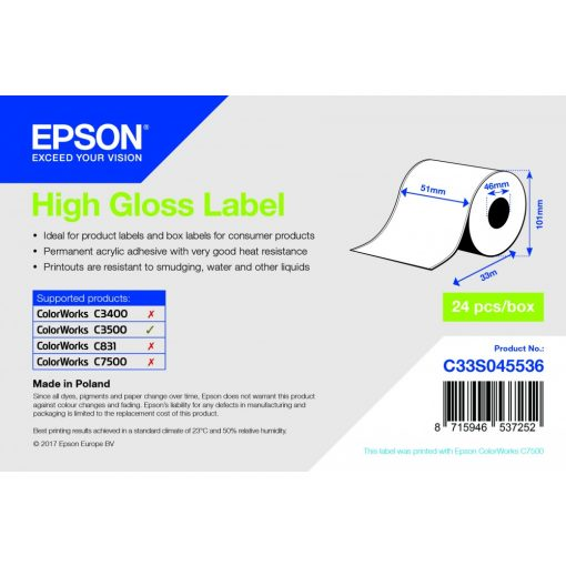 Epson 51mm*33m High gloss cimke